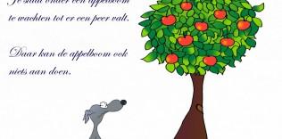 Joppe onder boom uit het boekje 'Dag liefde, kom je ooit nog eens terug'